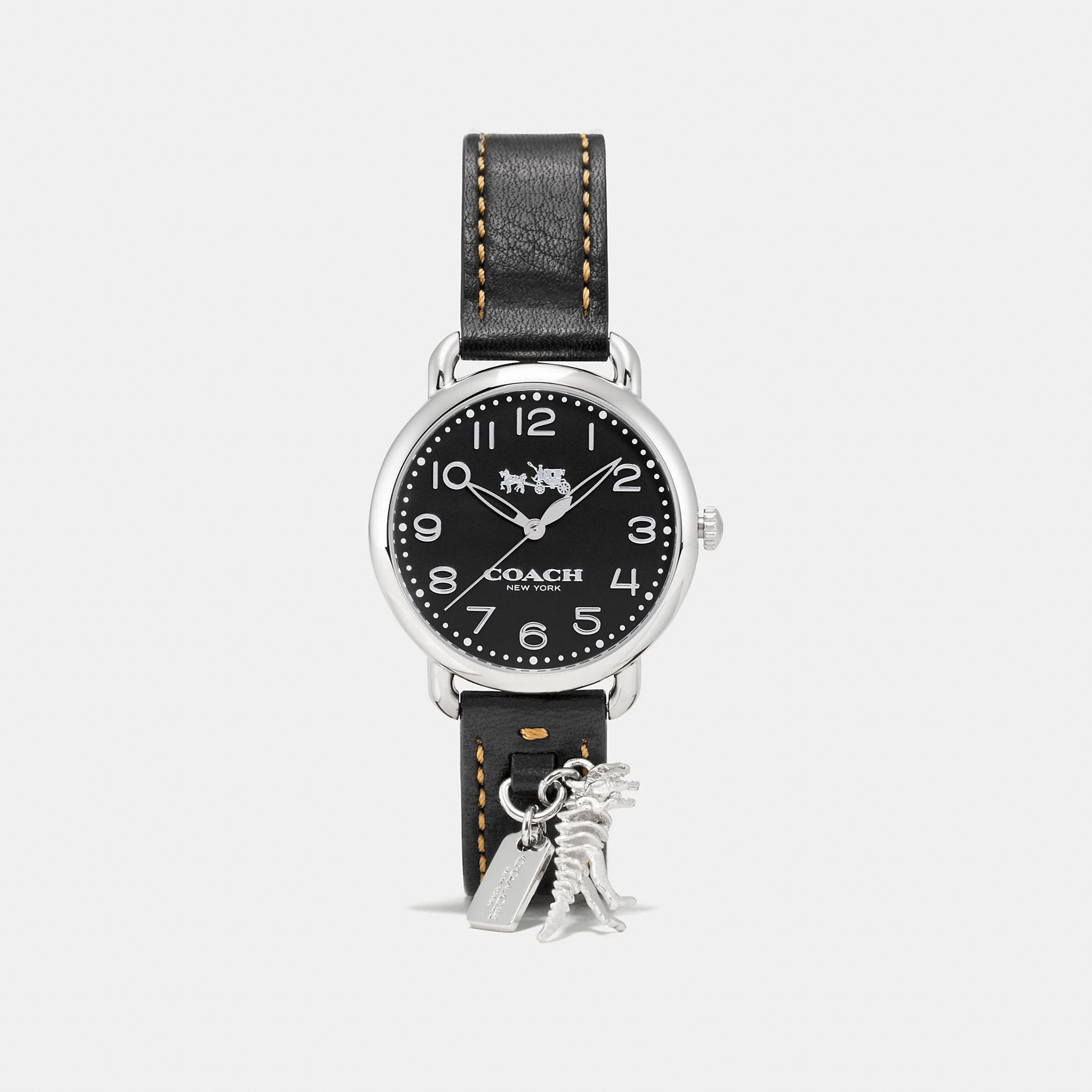 Coach Delancey Leather Strap Watch With Rexy Charm