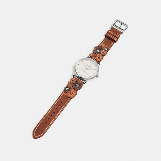 Coach Delancey Leather Strap Watch With Floral Applique