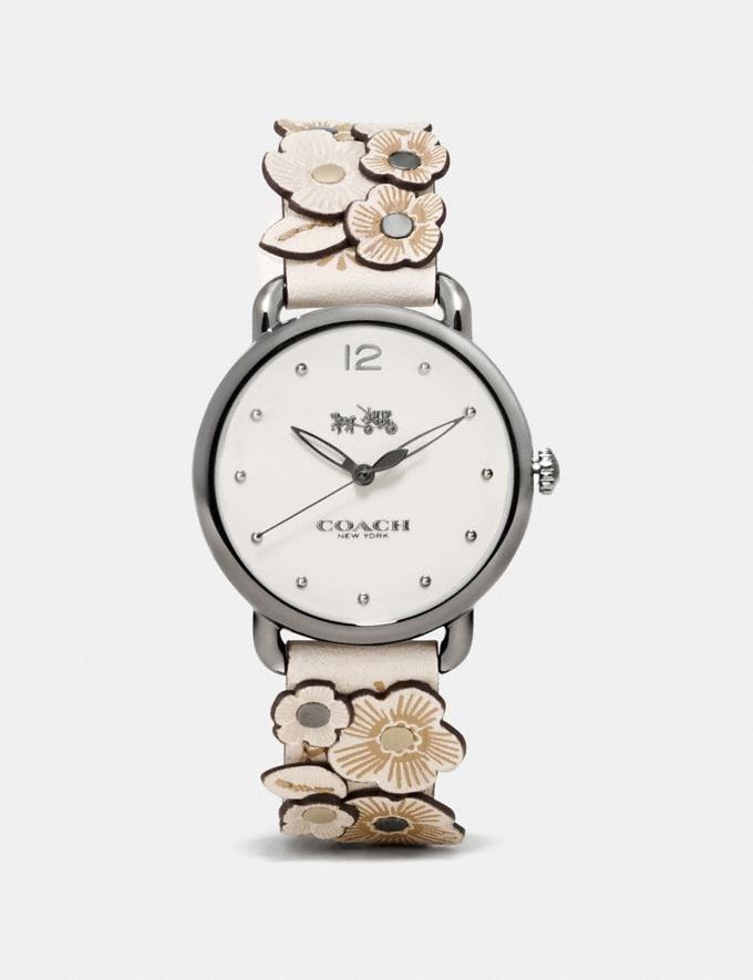 Coach Delancey Watch With Floral Applique, 36mm Chalk Women Accessories