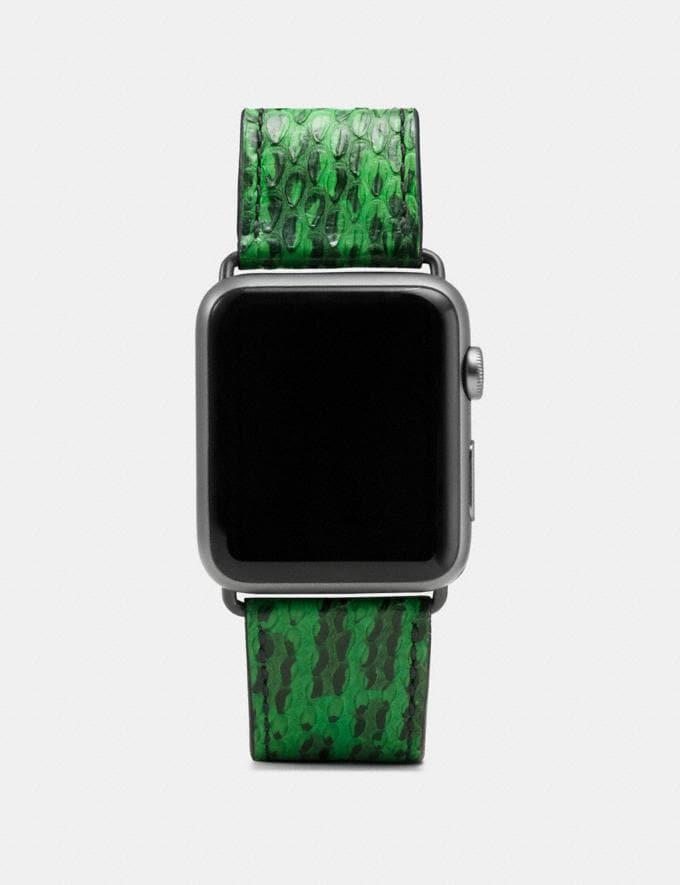Coach Apple Watch® Strap in Snakeskin Kelly Green Women Accessories Watches