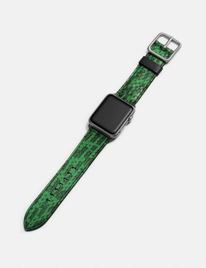 Coach Apple Watch® Strap in Snakeskin Kelly Green Women Accessories Watches Alternate View 1
